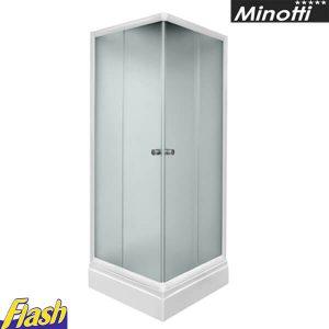 Tuš paravan kvadratni 80x80cm - (bez kadice) - Beli ram - Minotti - JE8081